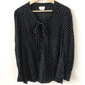 Kate Spade polka dot black and white tie front top
